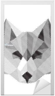 Naklejka na Drzwi Wilk wygrawerowany znak illyustrat zwierząt wektor