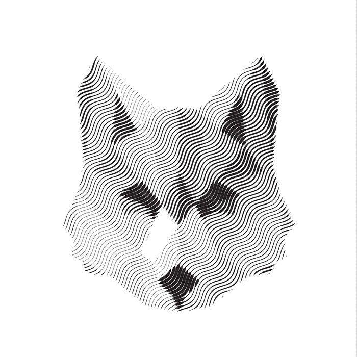 Naklejka na Drzwi Wilk wygrawerowany znak illyustrat zwierząt wektor -