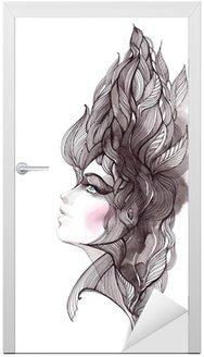 Naklejka na Drzwi Włosy ozdobną z liści
