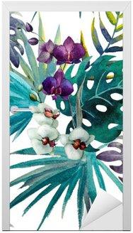 Naklejka na Drzwi Wzór liści hibiskusa orchidei tropików akwarela