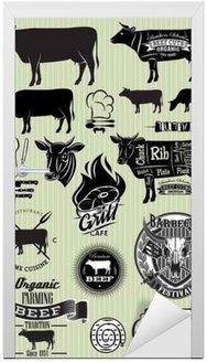 Naklejka na Drzwi Zestaw szablonów na temat krowy wołowiny projektu