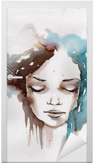 Naklejka na Drzwi Zima, zimno portret