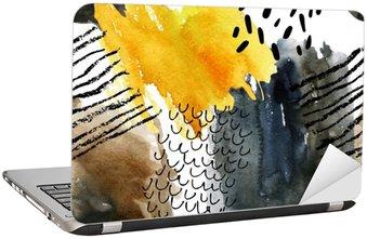 Naklejka na Laptopa Abstrakcyjna Akwarele szwu w kolorach jesieni.