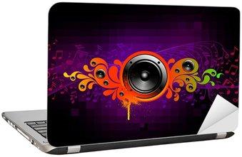 Naklejka na Laptopa Abstrakcyjna ilustracji muzycznej z głośnikami