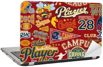 Naklejka na Laptopa American football szwu wektor