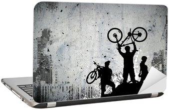 Naklejka na Laptopa Bike Tour w tle