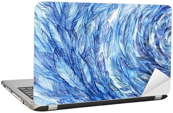Naklejka na Laptopa blue feathers in a circle, watercolor abstract background