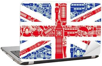 Naklejka na Laptopa Flaga Anglii z symboli Wielkiej Brytanii i Londynie