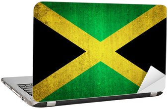 Naklejka na Laptopa Flaga Jamajki. Efekt grungy.