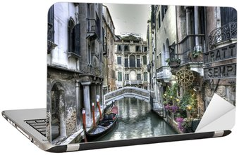 Naklejka na Laptopa Gondola, pałace i Most, Wenecja, Włochy
