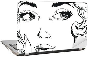 Naklejka na Laptopa Ilustracja twarz kobiety