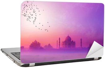Naklejka na Laptopa Indie. Taj Mahal sylwetka zachód. Tajmahal pałac w zachodzie słońca sk