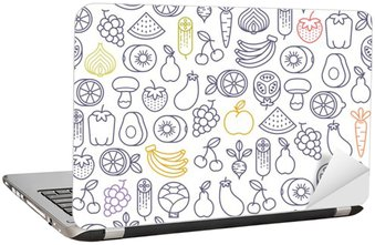 Naklejka na Laptopa Jednolite wzór z owoców i warzyw ikony