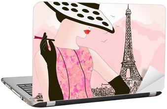 Naklejka na Laptopa Kobieta mody w Paryżu