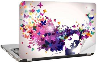 Naklejka na Laptopa Kobieta z motylami we włosach.