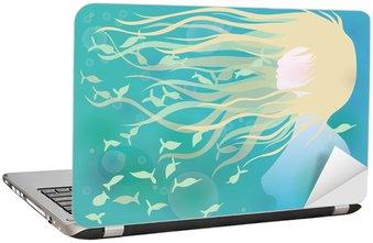 Naklejka na Laptopa Kobieta z włosami jak fale / lazurowym tle lato