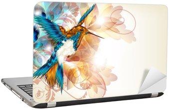Naklejka na Laptopa Kolorowe wektora projektu z realistyczną O kolibry i kwiatów