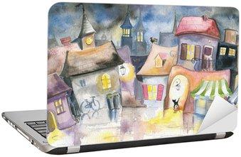 Naklejka na Laptopa Małe miasteczko w nocy