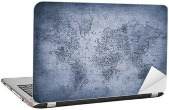 Naklejka na Laptopa Mapa grunge świata.