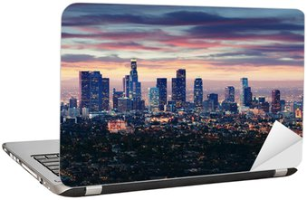 Naklejka na Laptopa Miasto Los Angeles w Kalifornii na zachodzie słońca z lekkie ślady