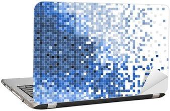 Naklejka na Laptopa Mozaika niebieski streszczenie ilustracji wektorowych pixel