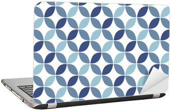 Naklejka na Laptopa Niebieski geometryczny wzór retro bezszwowe