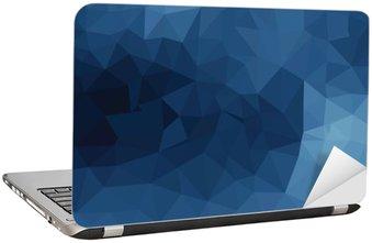 Naklejka na Laptopa Niebieski geometryczny wzór, trójkąty tła