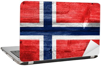 Naklejka na Laptopa Norwegia Bandera malowane na tle starego drewna deski