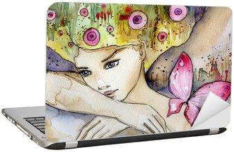 Naklejka na Laptopa Piękna dziewczyna z motylem