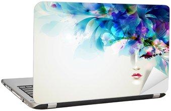 Naklejka na Laptopa Piękne abstrakcyjne kobiety z abstrakcyjnych elementów