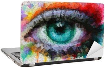 Naklejka na Laptopa Piękne oczy w geometryczne stylizacji abstrakcyjne geometryczne tle