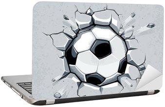 Naklejka na Laptopa Piłka złamanie ściany