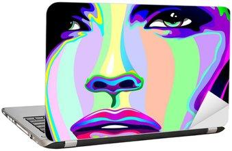 Naklejka na Laptopa Portret dziewczyny psychodeliczny tęczy Viso ragazza psychedelico
