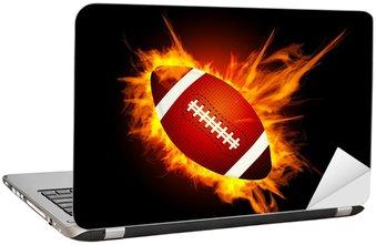Naklejka na Laptopa Realistyczne futbolu amerykańskiego w ogień