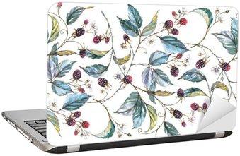 Naklejka na Laptopa Ręcznie rysowane akwarela Jednolite ornament z naturalnych motywów: oddziały, liści jeżyny i jagody. Powtarzające dekoracyjny ilustracja, granicy z jagód i liści