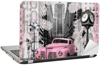 Naklejka na Laptopa Rocznika różowy auto