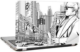 Naklejka na Laptopa Saksofonista na ulicy w Nowym Jorku