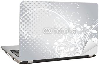 Naklejka na Laptopa Srebrno-szary i biały kwiatowy arabeski