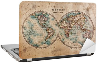 Naklejka na Laptopa Stara mapa świata na półkuli