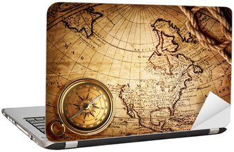 Naklejka na Laptopa Stary kompas i liny na mapie rocznika 1746