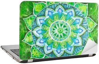 Naklejka na Laptopa Streszczenie zielony namalowany obraz z okręgu deseń, mandala