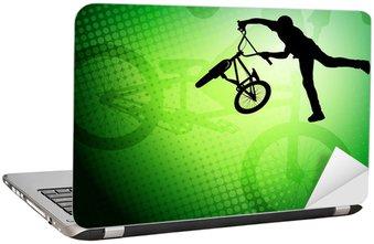 Naklejka na Laptopa Stunt BMX rowerzysta sylwetka na abstrakcyjnym tle - wektor