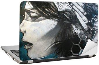 Naklejka na Laptopa Sztuka miejska. Kobieta Graffiti na ścianie