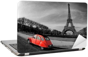 Naklejka na Laptopa Wieża Eiffla i czerwony-paris samochód