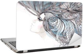 Naklejka na Laptopa Włosy ozdobną z liści