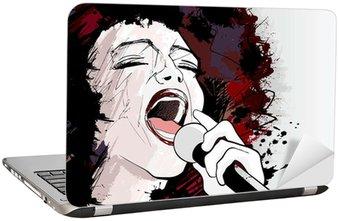 Naklejka na Laptopa Wokalistka jazzowa na tle grunge