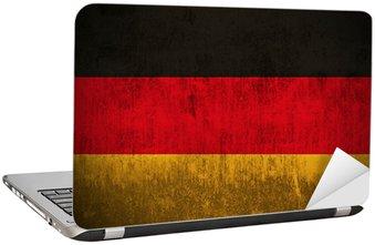 Naklejka na Laptopa Wyblakły banderą Niemiec, tkaniny teksturowane