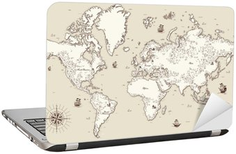 Naklejka na Laptopa Wysoka szczegółowy, Stary mapa świata z elementami dekoracyjnymi
