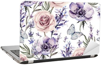 Naklejka na Laptopa Wzór akwarela z kolorami lawendy, róż i anemon.