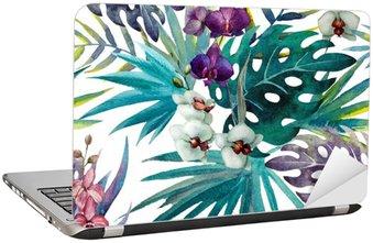 Naklejka na Laptopa Wzór liści hibiskusa orchidei tropików akwarela
